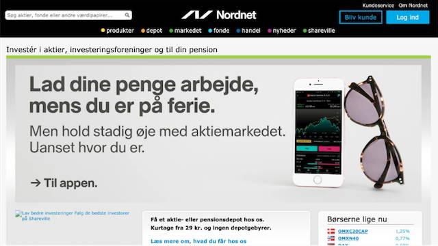 Et skærmprint fra Nordnet, hvor man kan handle med værdipapirer