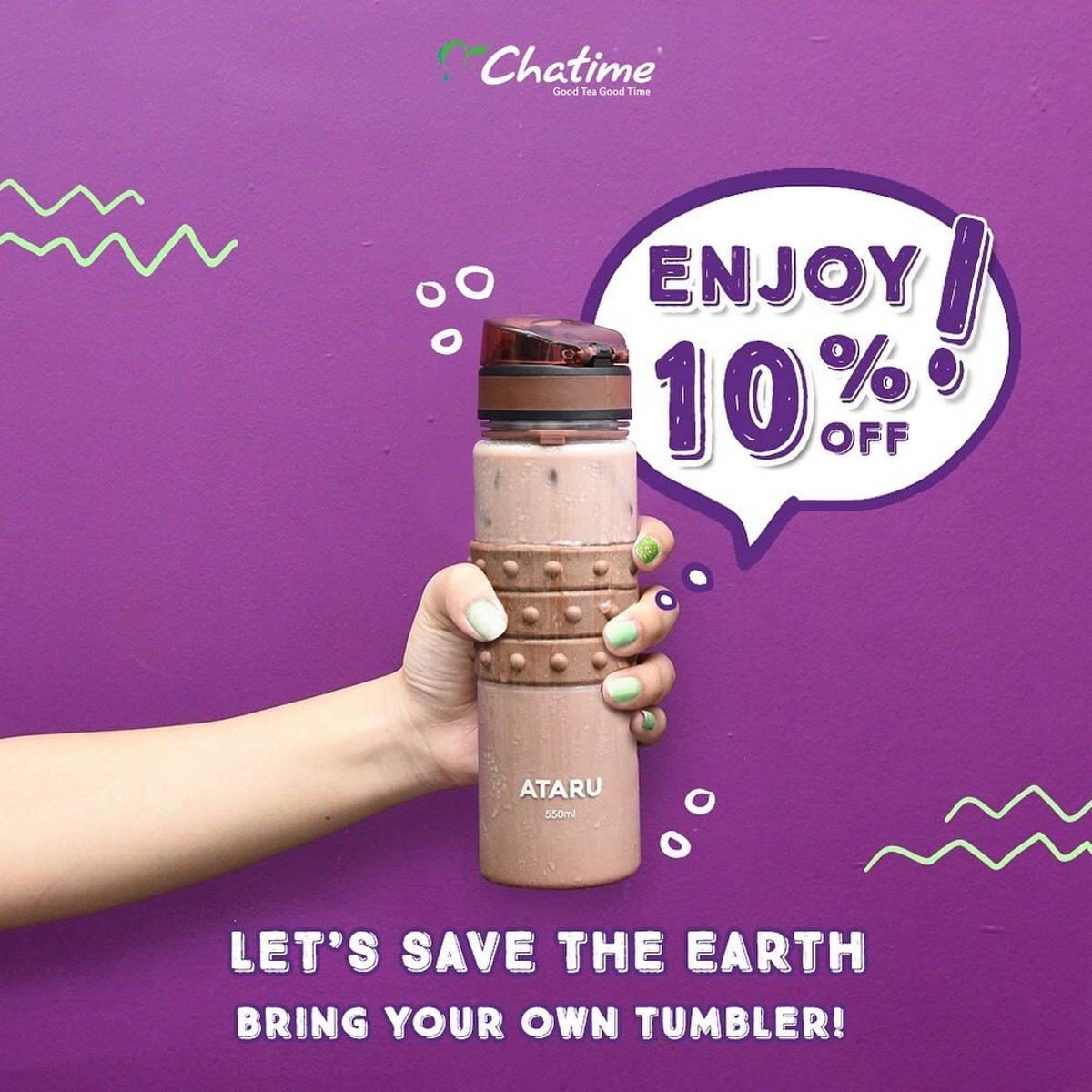 Katalog Promo: Chatime: PROMO DISKON 10%dengan membawa Tumbler di Chatime untuk mengurangi cup plastik - 1