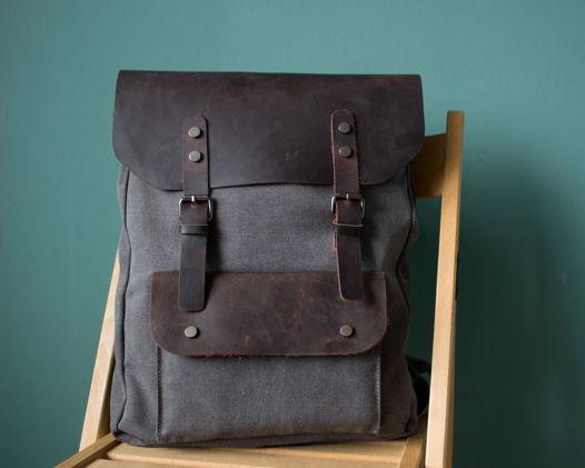 Холщовый рюкзак с отделкой из кожи