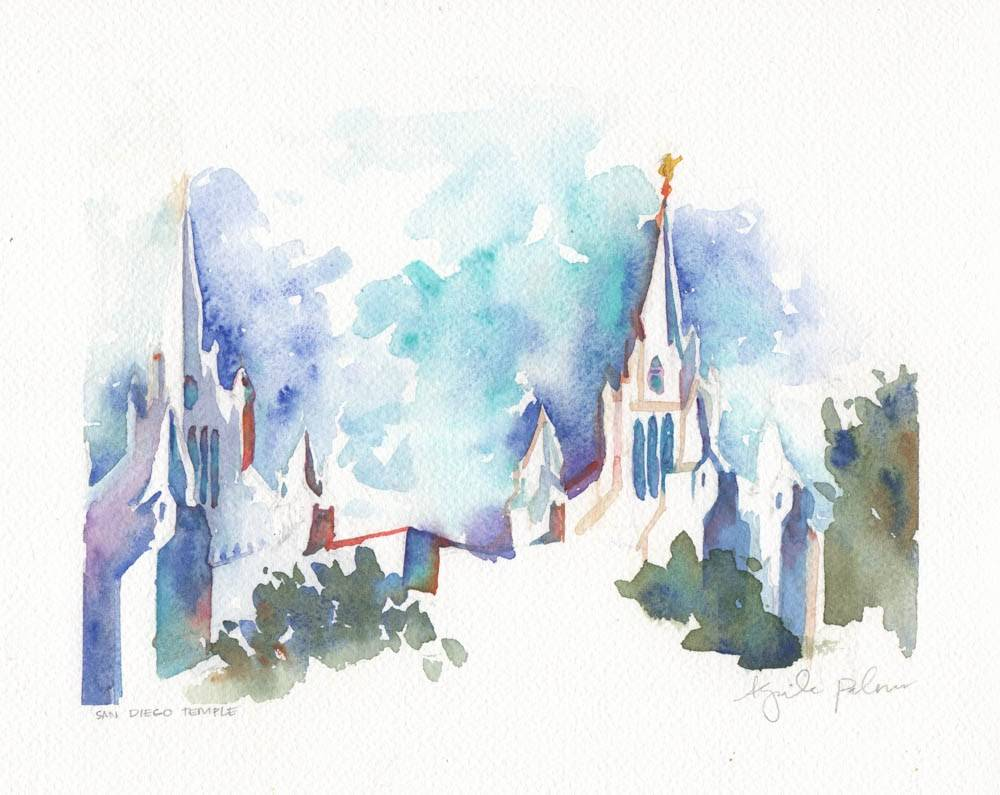 Watercolor of the San Diego California Temple.