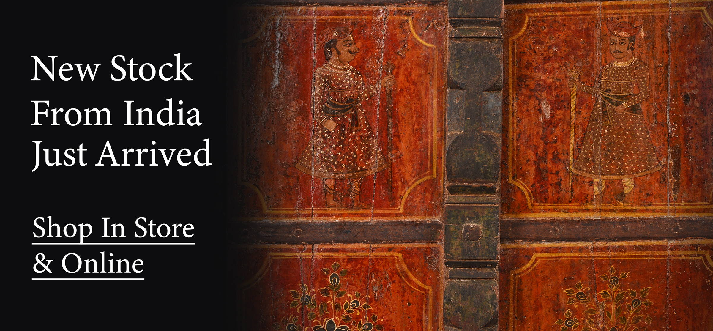 Shop our latest arrivals of Indian antique furniture and architecture such as these antique painted Indian doors from Bikaner