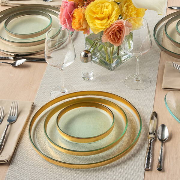 mod collection, gold and platinum rimmed glass dinnerware and serving dishes