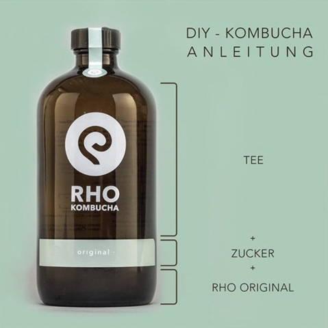 Darstellung des Rho Kombuchas mit der Geschmacksrichtung Original und s einer Zusammensetzung