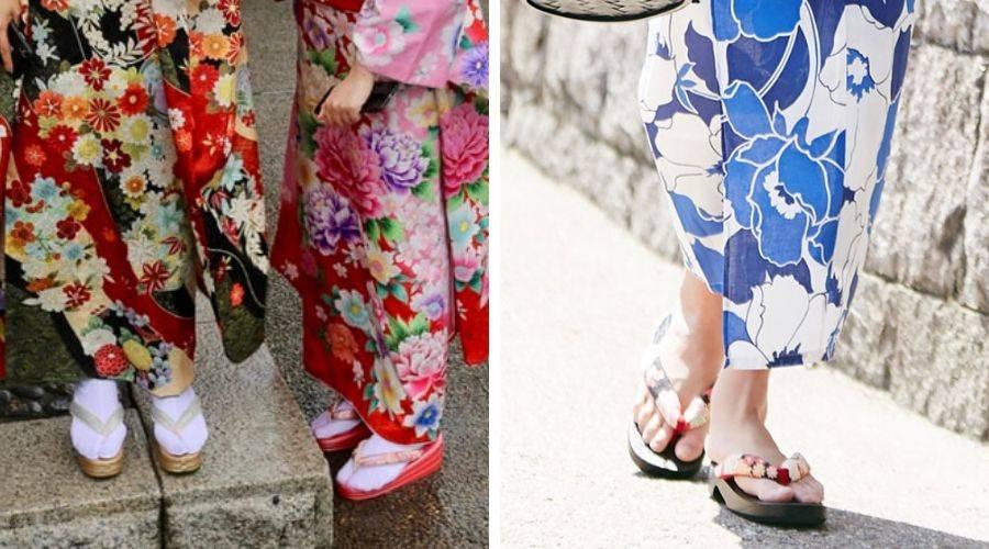 kimono vs yukata. kimono wearing socks, yukata barefeet