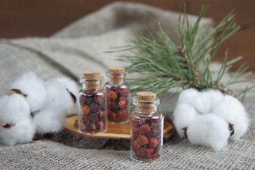 Плоды шиповника и рябины, в стеклянных колбочках 4 см.