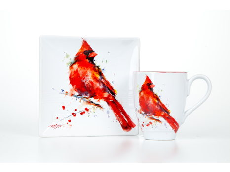 Dean Crouser Cardinal Package: 2 snack plates & 2 mugs