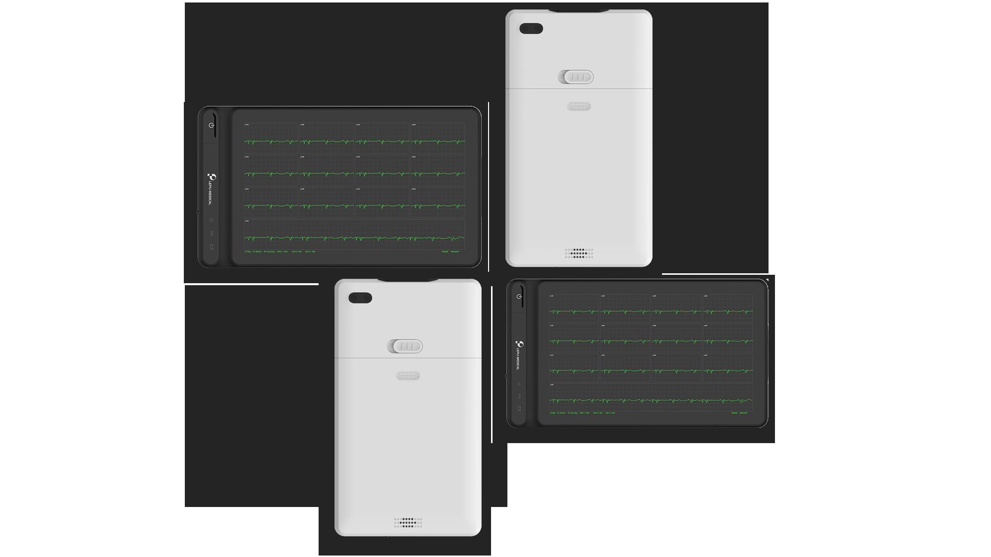 Máquina de ECG de tableta inteligente profesional Wellue de 12 derivaciones con vista frontal y vista posterior.