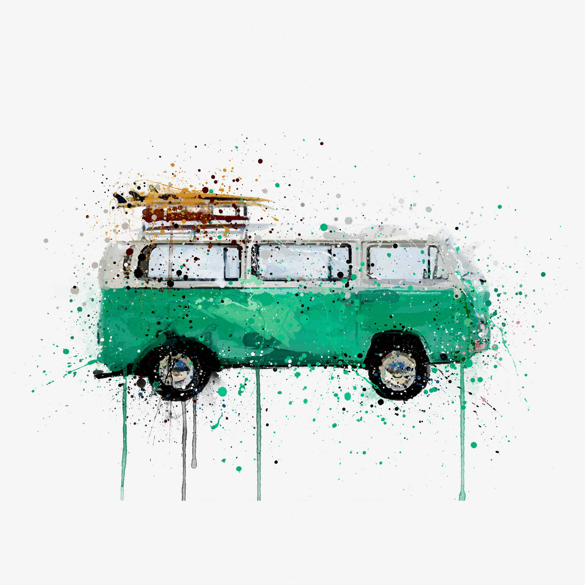 Green campervan with surfboards on the roof Wall Art Print