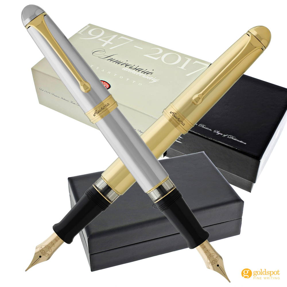 Aurora 88 Anniversary Flex Nib Fountain Pens Chrome and Gold