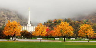 Provo Temple surrounded by fog and autumn trees.