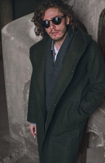 Шерстяное пальто хаки с Капюшоном  и внутренним жилетом #35
