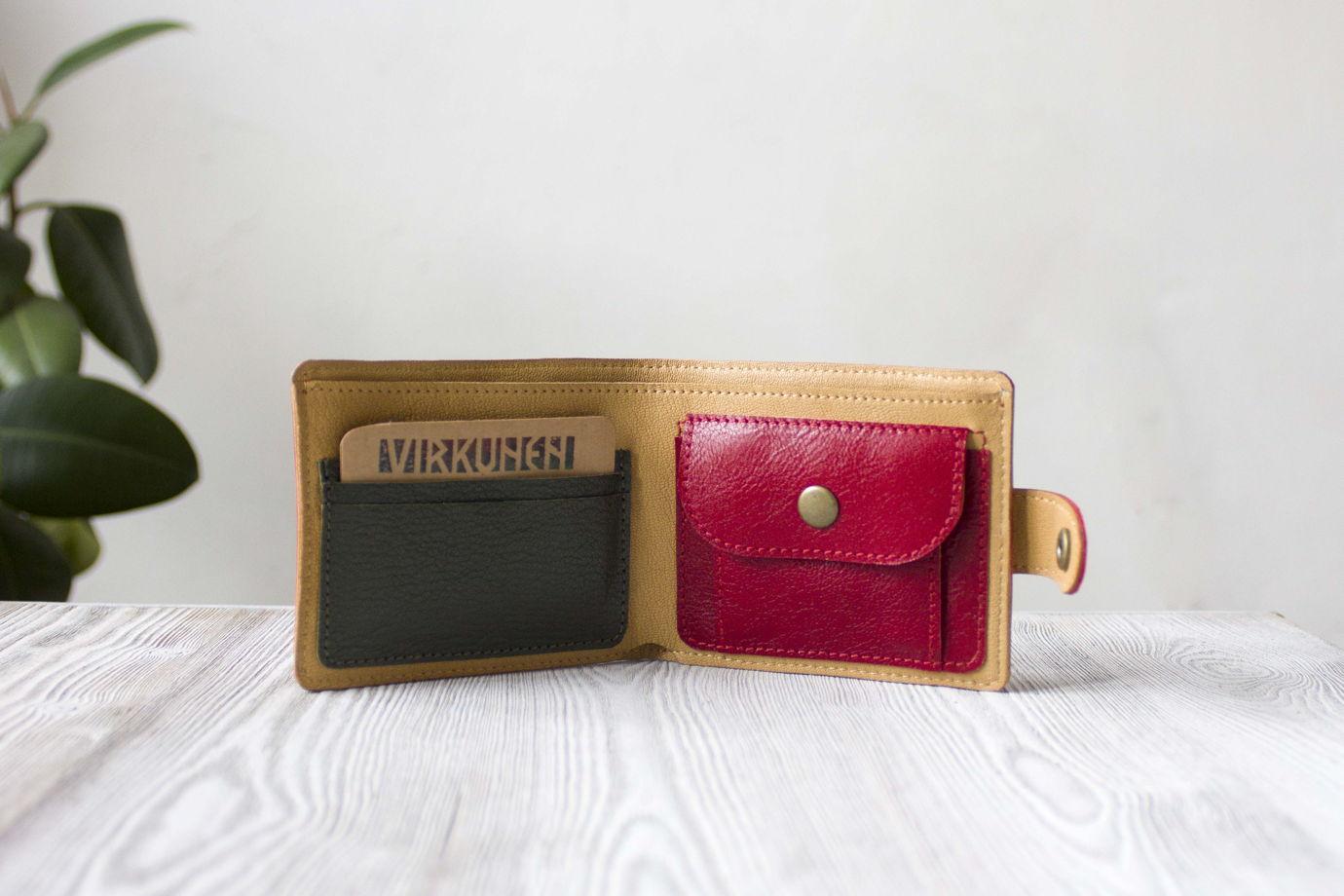 """Красный женский кошелек, портмоне  из натуральной кожи """"Тропикана"""""""