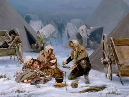 Latter-day Saint pioneer family huddled together in the snow.