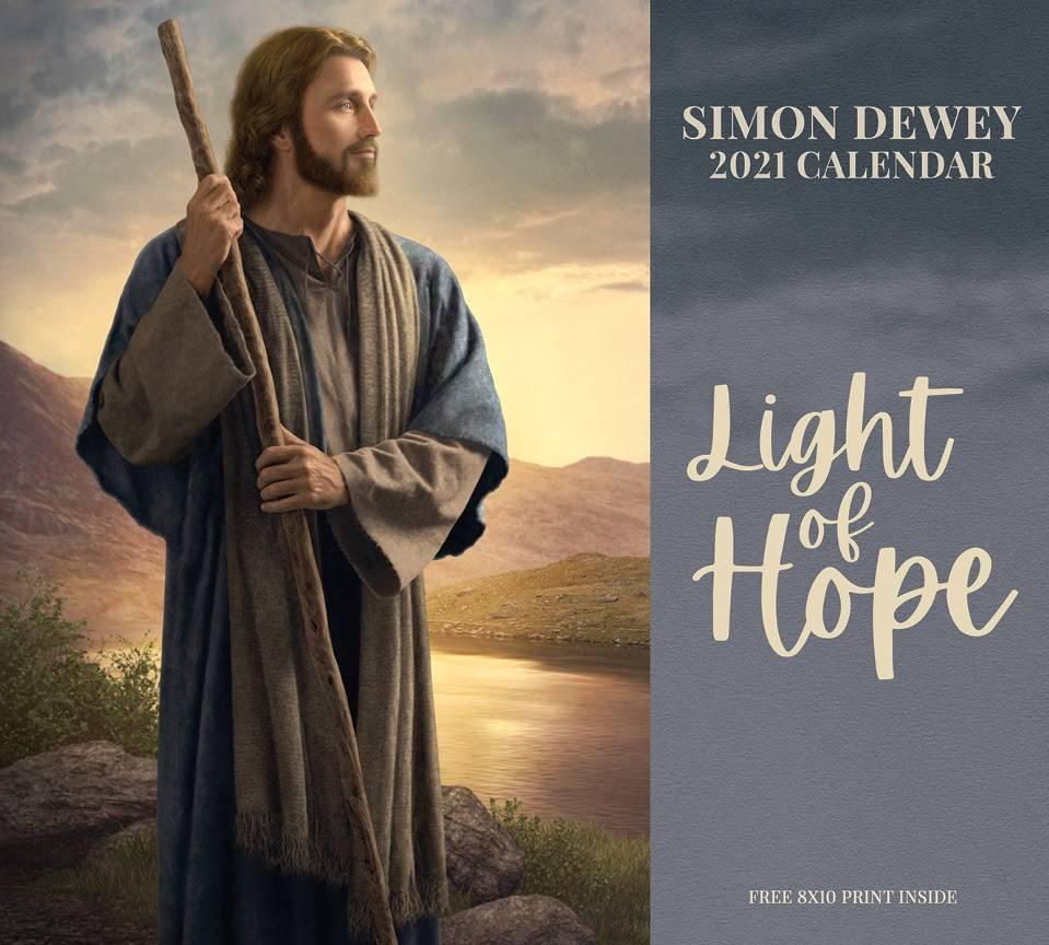 Simon Dewey 2021 calendar cover. Christ stands on a riverbank.