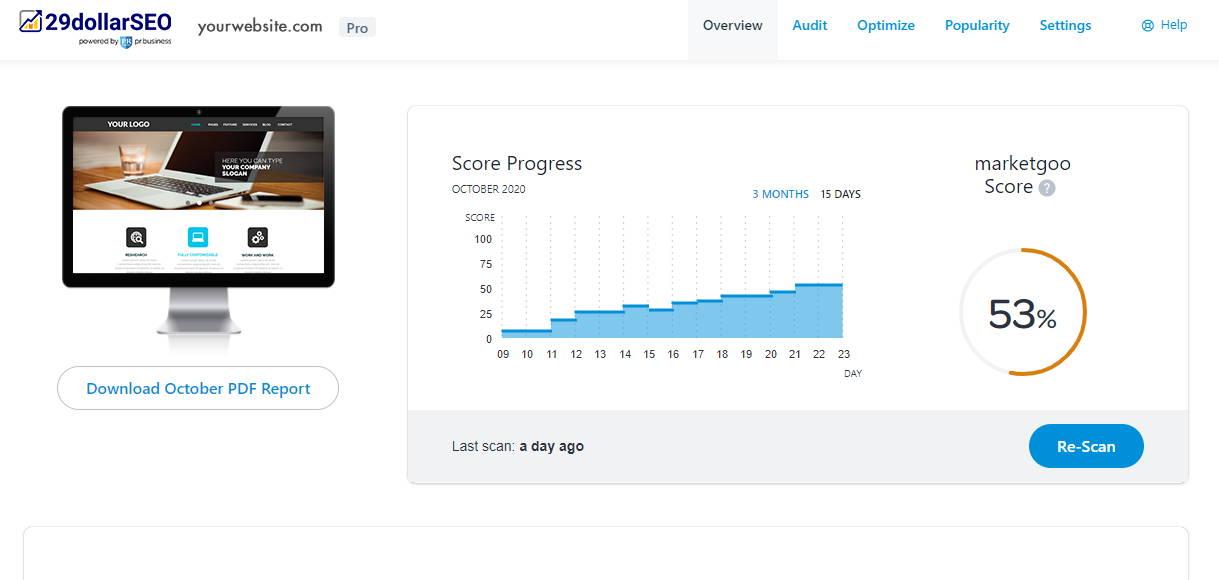 website seo progress
