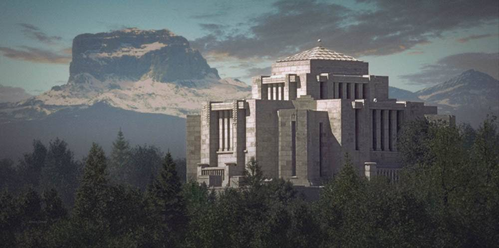 LDS art painting of the Cardston Temple standing above the trees.