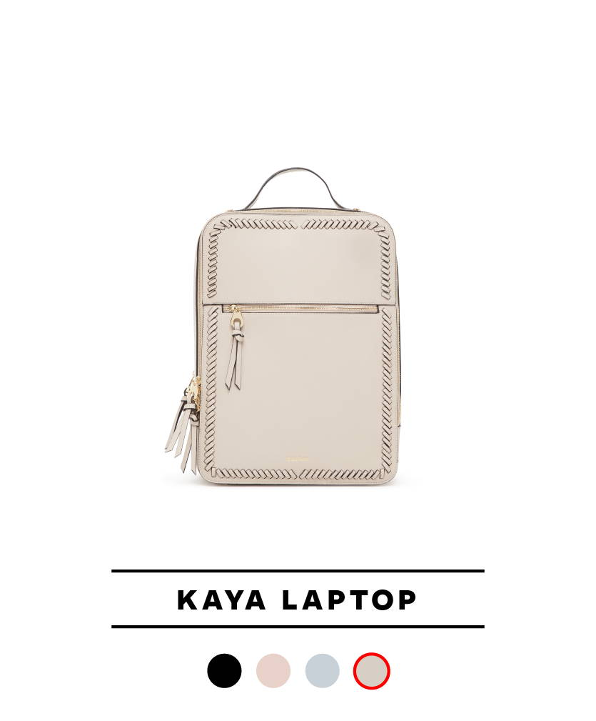 Kaya Laptop Backpack in Stone