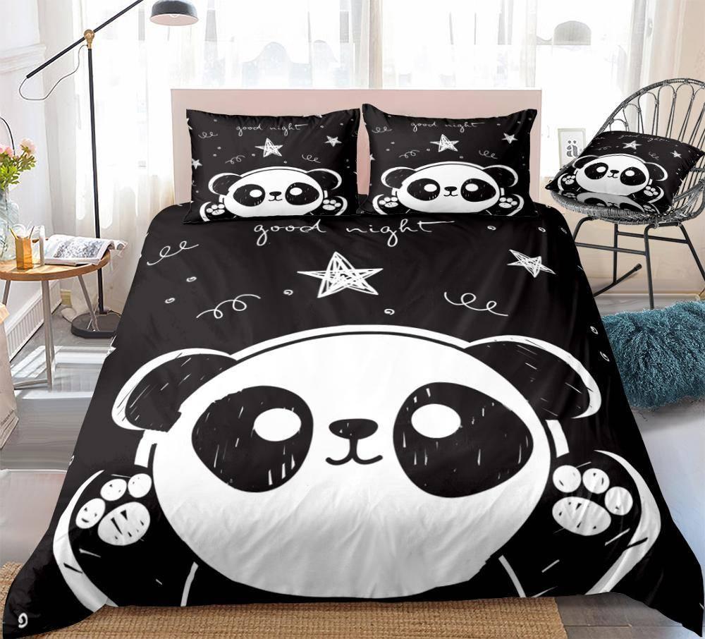 housse de couette panda noire etoile au milieu