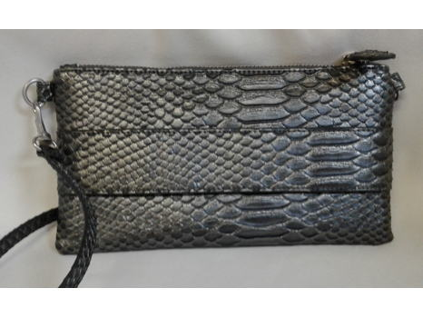 Pewter Snakeskin Embossed Clutch