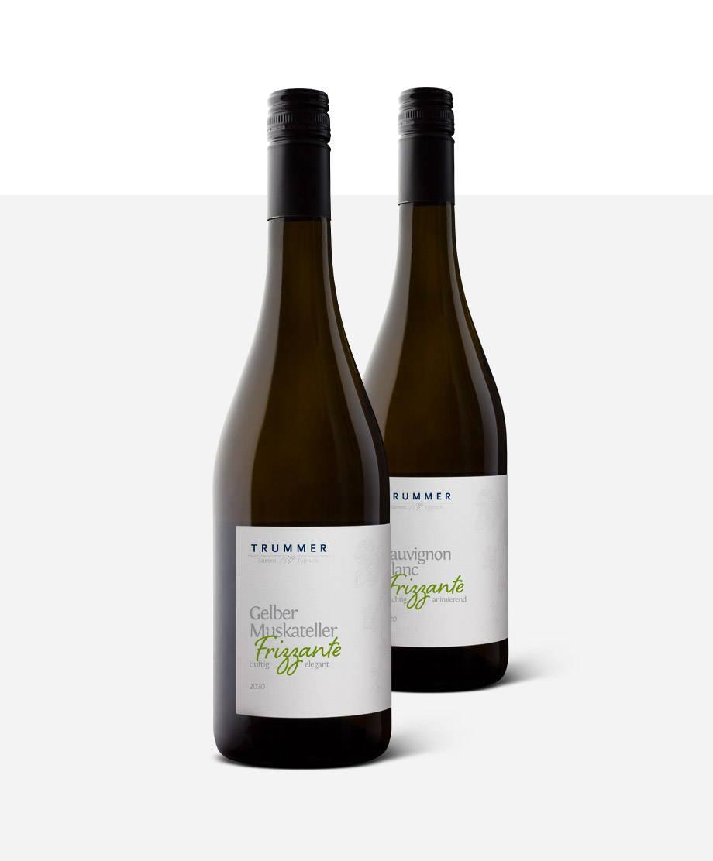 Eine Flasche Frizzante vom Weingut Trummer
