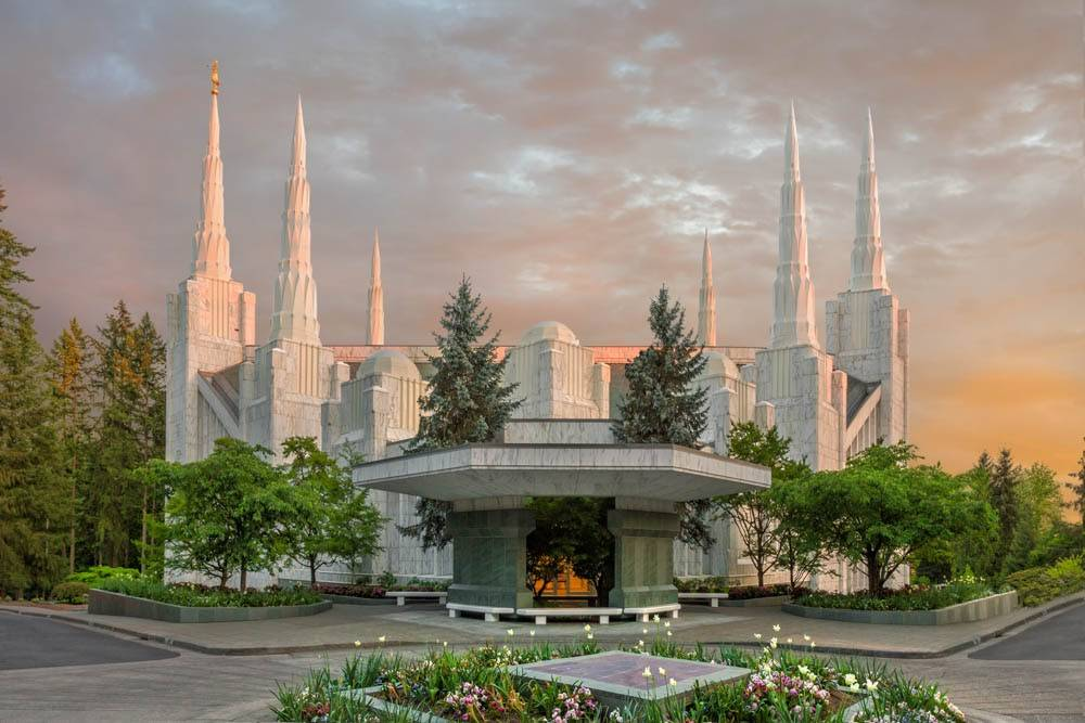 LDS art photo of the Portland Oregon temple showing all six spires against an evening sky.