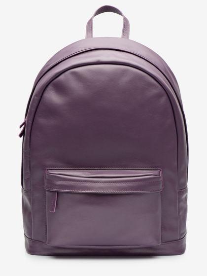Большой рюкзак, из натуральной кожи черничного цвета
