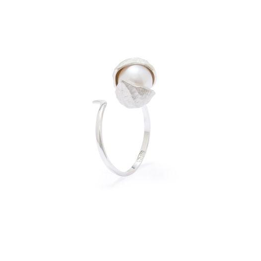Кольцо Большой бутон Фуксии, закрытый бутон. серебро (белый жемчуг)