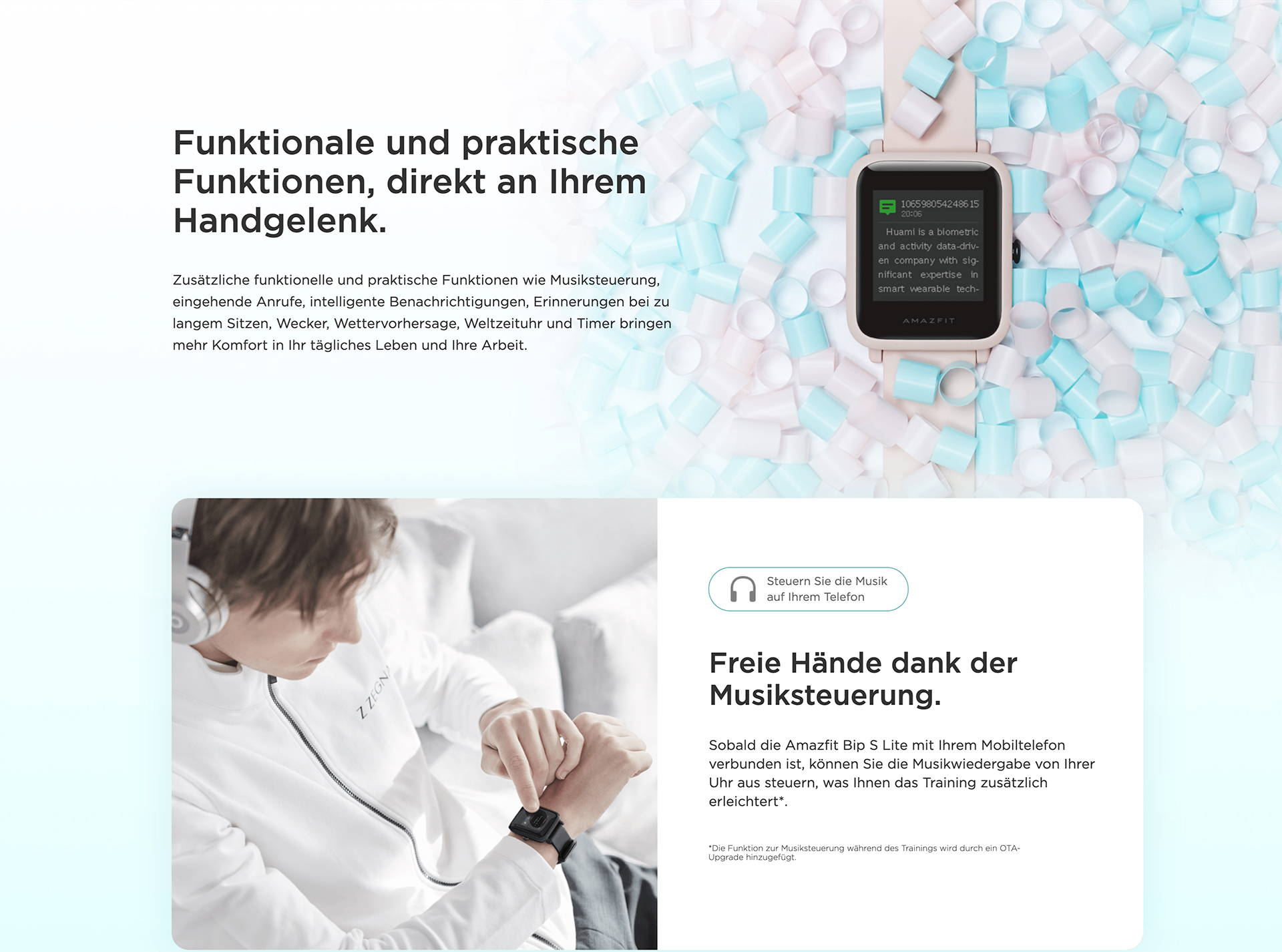 Amazfit DE - Amazfit Bip S Lite - Funktionale und praktische Funktionen, direkt an Ihrem Handgelenk | Freie Hände dank der Musiksteuerung