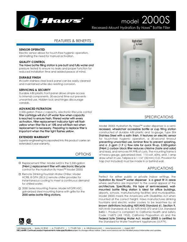 Hydration by Haws™ Model 2000S Spec Sheet