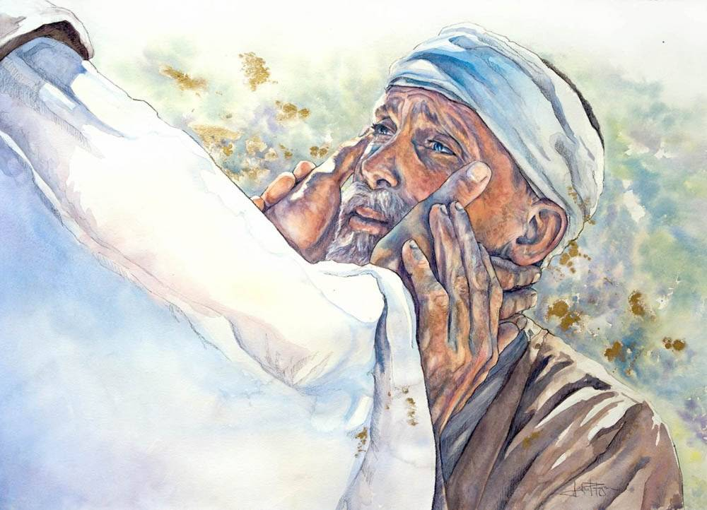 A cured blind man looking up with gratitude toward Jesus.