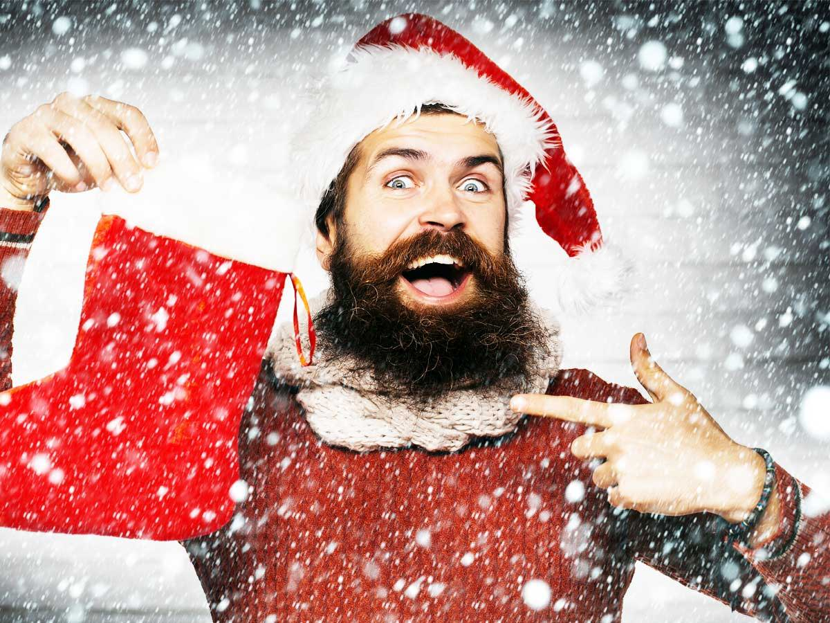santa with stocking stuffers