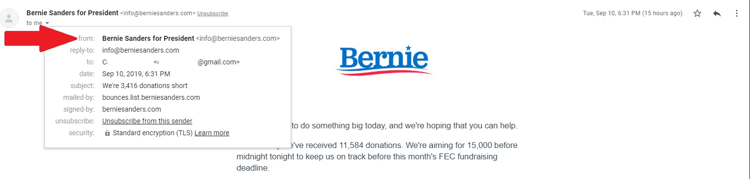 This email is from Bernie Sanders' campaign, clearly explained in the From field