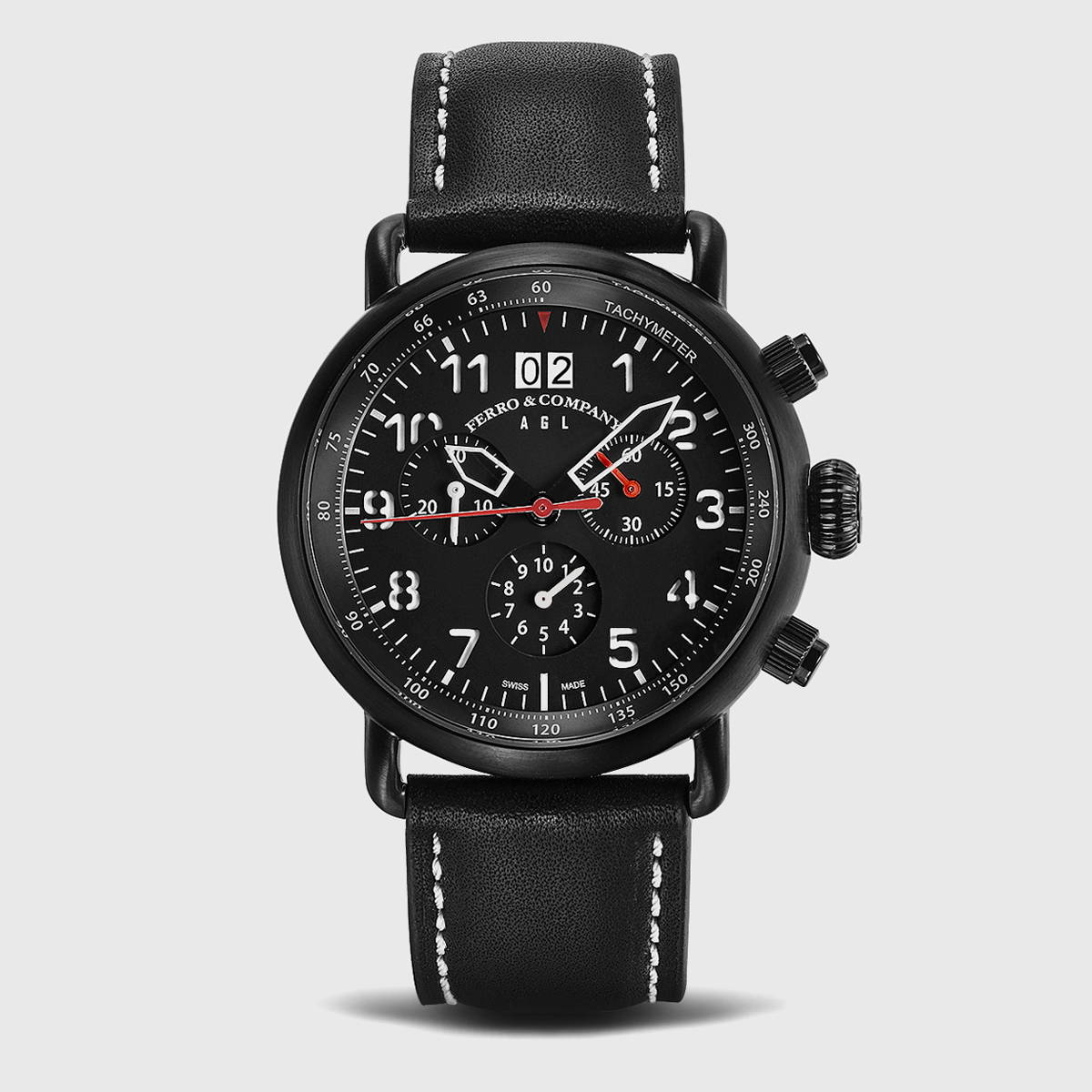 swiss made pilot watch with chronograph