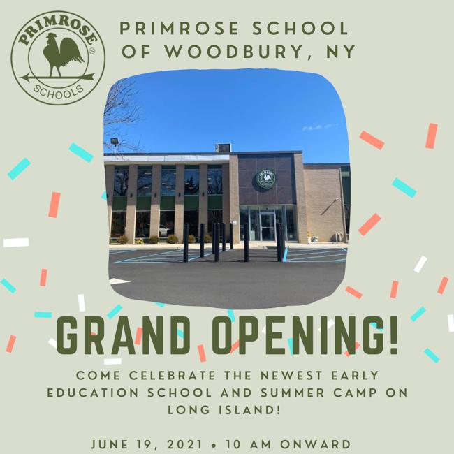 Grand opening celebration and ribbon-cutting for Primrose School of Woodbury New York, on June 19 2021 10AM. Preschool.