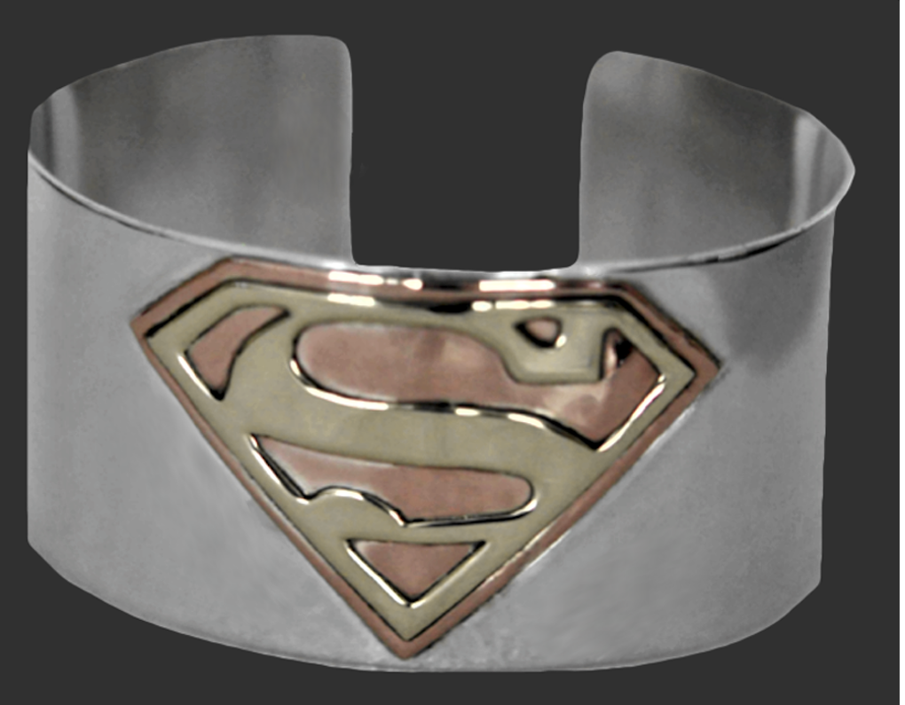 Superman cuff bracelet, sterling silver with copper and brass