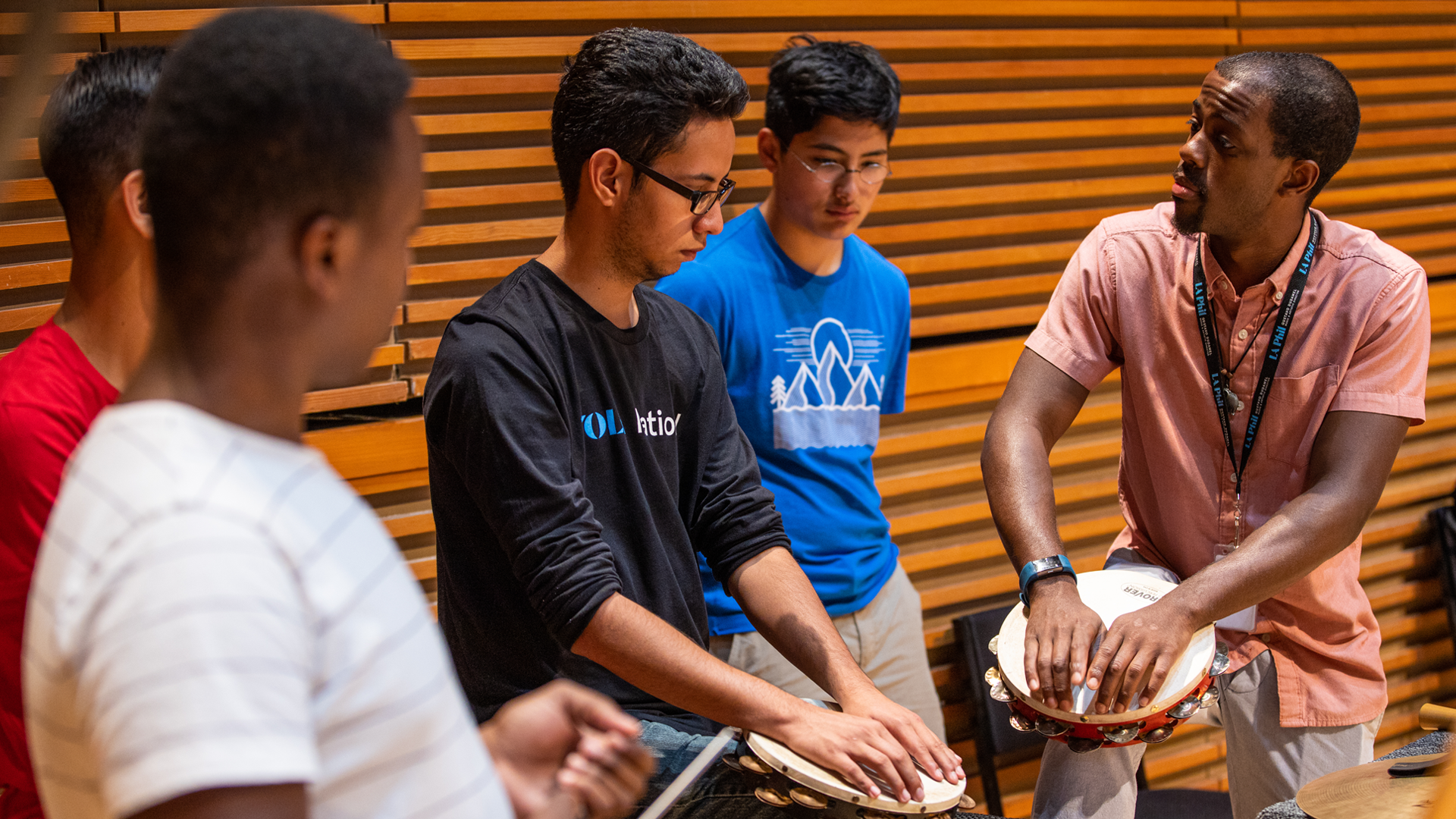 Members of the YOLA National Faculty leading percussion symposium