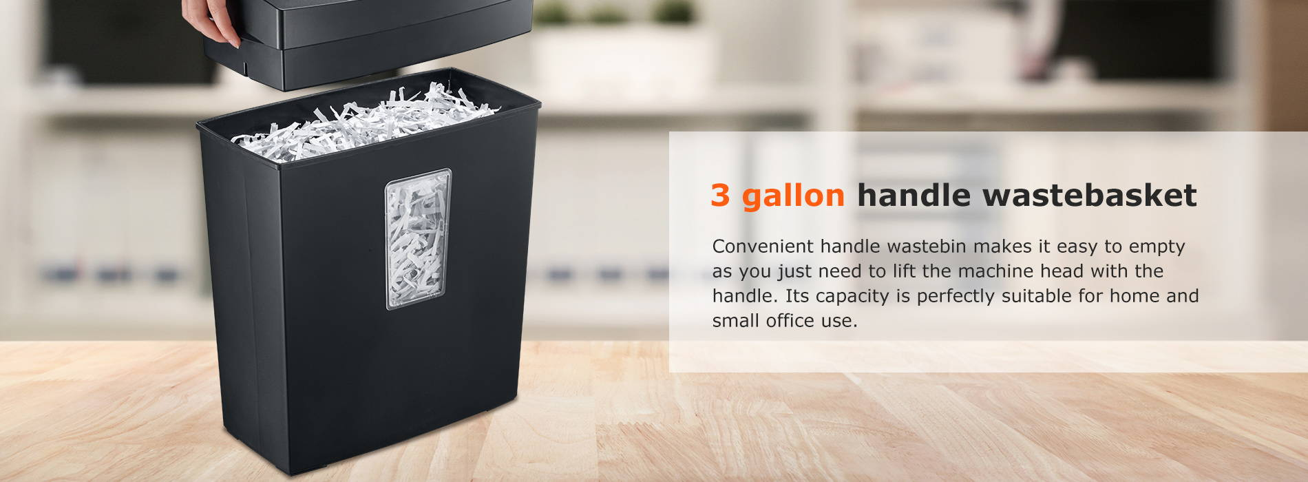 3 gallon handle wastebasket Convenient handle wastebin makes it easy to empty as you just need to lift the machine head with the handle. Its capacity is perfectly suitable for home and small office use.