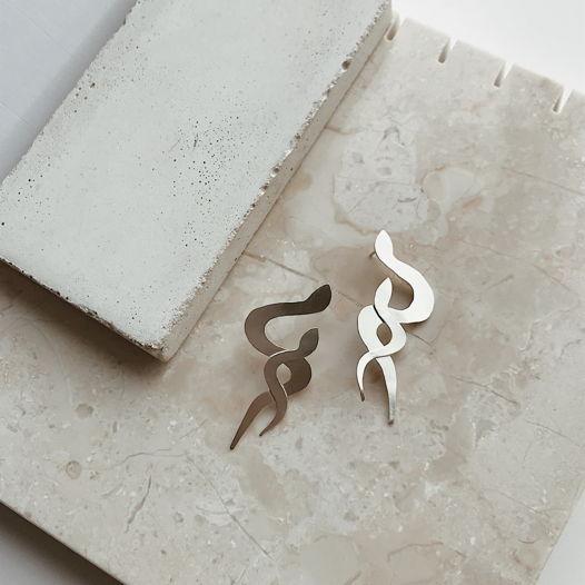 Серьги змейки двойные