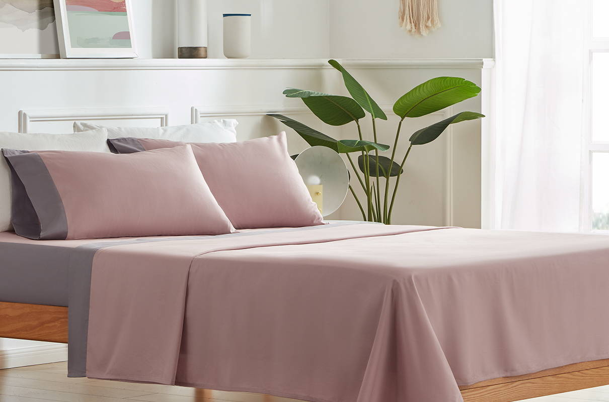 sleep zone bedding website store products collections cottonnest pure cotton sheet set  pink grey gray bedroom