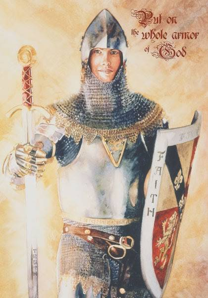 "LDS art poster by Judy Cooley showing a young man wearing armor. Text reads: ""Put on the whole armor of God."""