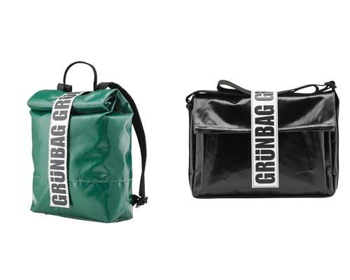 Green rucksack made from recycled tarpaulin with large Grunbag branded closure and black shoulder bag made from recycled black tarpaulin with large grunbag closure branding