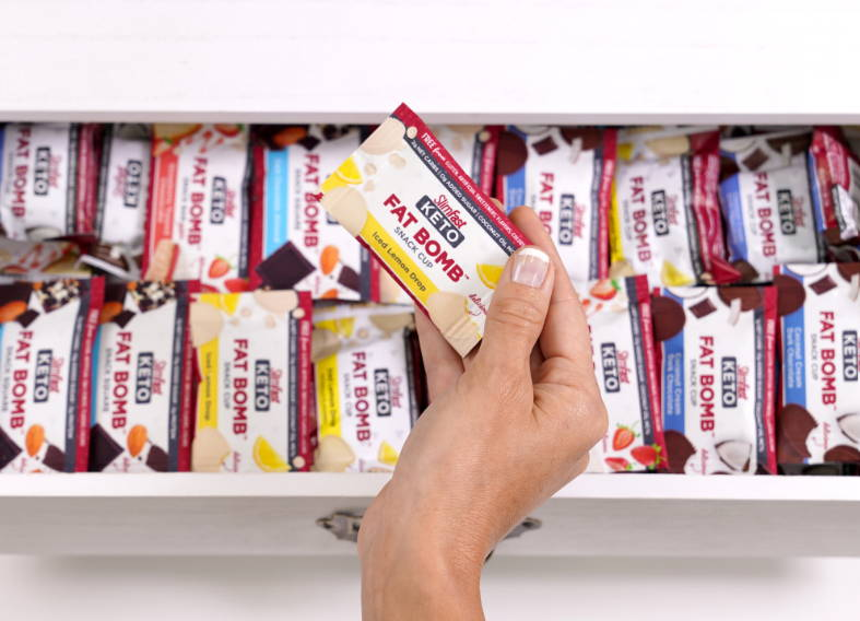 Fat bomb snacks in a desk drawer, easy and convenient