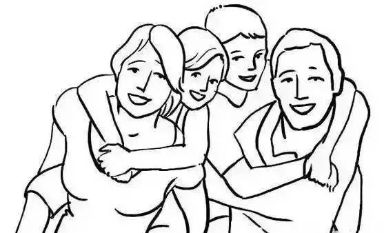 This is a stick figure of a daughter and a son hugging their mother and father
