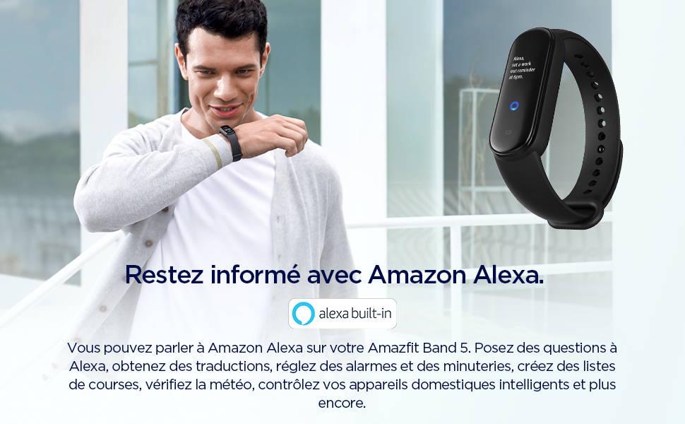 Amazfit Band 5 - Vous pouvez communiquer avec Amazon Alexa sur votre Amazfit Band 5. Posez des questions à Alexa, obtenez des traductions, régler des alarmes et des minuteries, créez des listes de courses, consultez la météo, contrôlez les appareils connectés de votre domicile et bien plus encore.