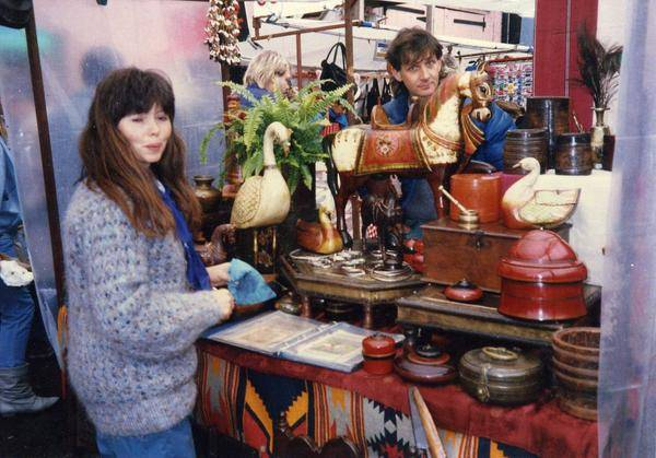 Founders, Richard & Marion at their first stand in Camden Lock Market selling mostly Indian handicrafts at the very beginning.