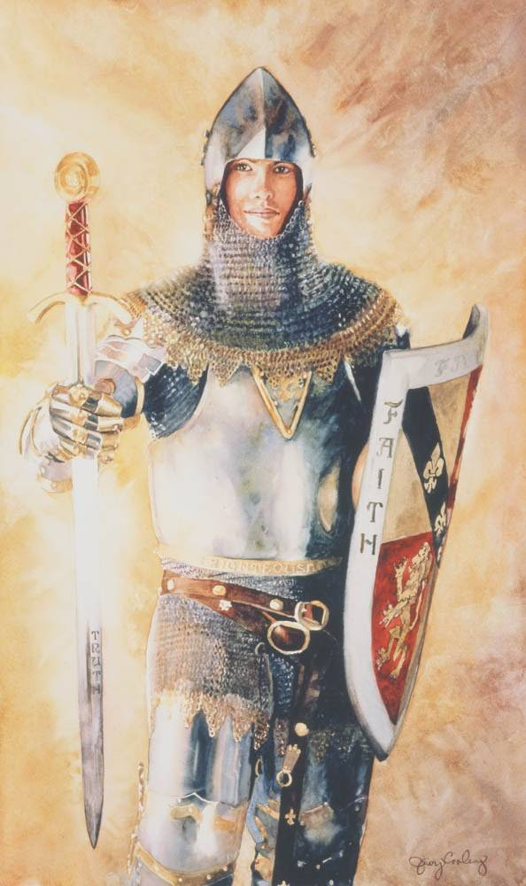 LDS art painting of a young man in armor, representing the armor of God.