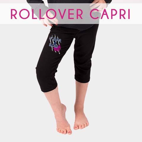 rollover capri with rhinestone logo