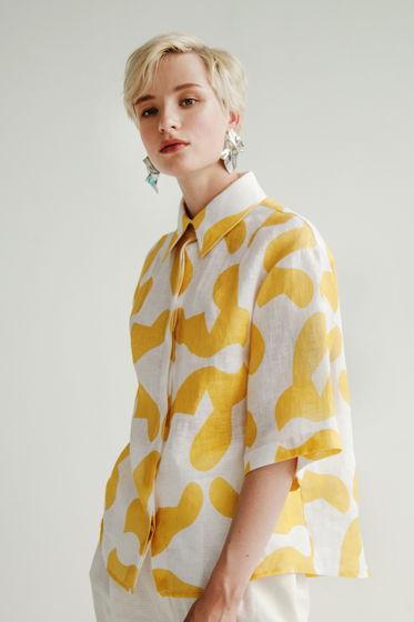 Oversize рубашка женская с авторским принтом из 100% льна