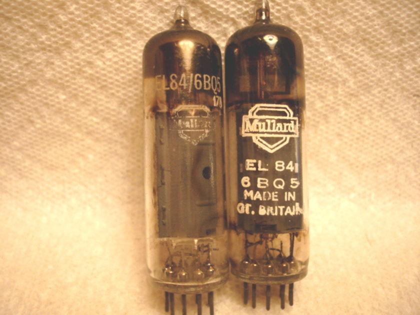 Mullard EL84/6BQ5 square getter tested matched pair