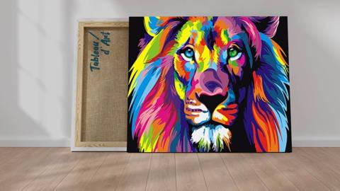 Peinture par numéros d'un lion multicolore